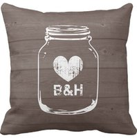 Wholesale Chic Cushion Covers - Throw Pillows Case, Monogrammed Country Chic Mason Jar Square Sofa and Car Cushions Cover (16inch,18inch,20inch)