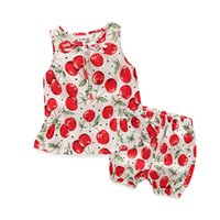 Wholesale Cute Foreign Baby Girl - 2017 Europe and the United States foreign trade children's clothing sleeveless pants summer models baby girl cute cherry lace suit