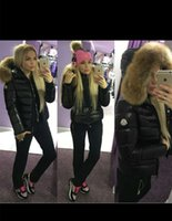 Wholesale thick sash belt - M26 Women Winter Duck Down Coat 100% Real Large Raccoon Fur Collar Hooded Down Jacket With Belt Waist Thick Duck Down Parkas