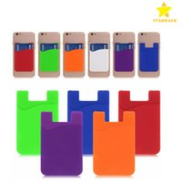 Wholesale Ultra slim Self Adhesive Credit Card Wallet Card Set Card Holder for Smartphones for iPhone Colorful Silicon