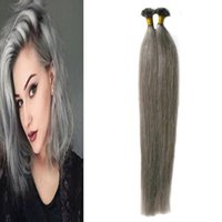 Wholesale Gray Nail Tips - Straight Gray Hair Extensions nail U tip hair extensions 100g 1g strand silver Capsules keratin fusion hair extensions