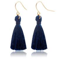 ganchos de peixe de moda azul venda por atacado-Sapphire Azul Moda Borlas Doces Brinco Moda Dourado Orelha de Peixe Gancho Antigo Dangle Lustre Mulheres Pingente Brincos Presente Da Jóia Do Partido