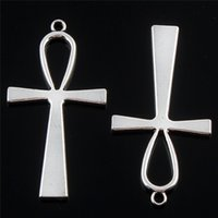 Wholesale Large Cross Charms - Jewelry diy 50pcs Tibetan Silver Large ankh egyptian cross Charms Pendants for necklace bracelet key ring Making Craft 55*29mm