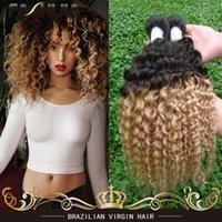 Wholesale Curly Two Tone Hair Extensions - Brazilian Virgin Human Hair Curly Wave Ombre 1B 27 Two Tone Hair Extension Cheap Brazillian Hair 3Pc