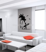 Wholesale Surf Decoration - home decor Coconut Tree Vinyl Decal BEACH PALMS AND GIRL SURFING Wall Art Sticker Bedroom Living Room Wall Sticker Home Decoration