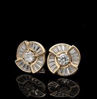 Wholesale Lab Diamond Stud - 1.00CT. Brilliant Round & Baguette Lab Diamond Studs Earrings 14K Yellow Gold