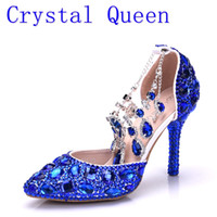 Crystal Queen Women Rhinestone azul Crystal Wedding Shoes Graduation Party Prom Shoes Nightclub Noche Sandalias de novia High Heel