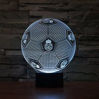 Wholesale Touch Led Table - 3D Real Madrid 3D Football LED USB Night Light 7 Color Change LED Table Lamp Xmas Toy Gift