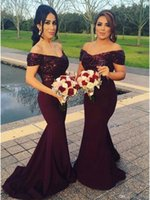 Wholesale Unique Wedding Photos - Fast Shipping Sexy Mermaid Off the Shoulder Sweep Train Burgundy Prom Gowns 2017 Unique Evening Dresses