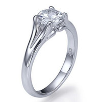 1 CT Simulation Diamond ENGAGEMENT RING 14K WEISS GOLD ROUND CUT SOLITAIRE SI1 / D