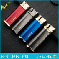 Wholesale Inflatable Cigarette Lighter - HONEST good quality top metal lighter inflatable lighter four color can choose with gift box