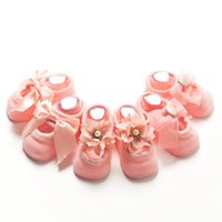 Wholesale Lace Bow Slippers - Kids Baby Socks 3D Infant Korean Bow Lace Flower Non Slip for Girls Toddler Newborn Children Slippers Cute