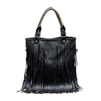 Wholesale Sling Satchel Bag - Wholesale-women new leather handbags tote sling bags big over shoulder retro fringe European and American Style solid ladies bolsas casual
