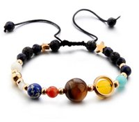 Wholesale Green Guardian - Fashion Universe Galaxy the Eight Planets in the Solar System Guardian Star Natural Stone Beads Strands Bracelet Bangle for Women & Men Gift