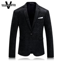 Wholesale Leopard Coats For Men - Wholesale- Solid Black Mens Printed Blazer Leopard Fashion Mens Clothing Party Stage Costumes For Singers Slim Fit Coat Blazer Homme M-4XL
