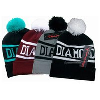 Wholesale embroidered golf caps online - DIAMOND bulky wool hat fashion Beanies knit hat letter three dimensional embroidery spoof wool hat autumn winter men women warm hats cap