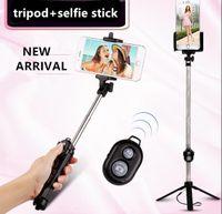 selbst-timer ausziehbares handheld-bluetooth großhandel-Selfie Stock + Stative + Bluetooth-Timer Selfie Einbeinstative Erweiterbar Self Portrait Selfie Handheld Stick Remote-Shutter Print-Logo