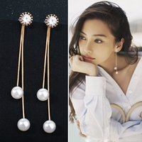 Wholesale Asian Needle - Fashion lady long pearl tassel earrings, high-quality simple 925 silver needle micro-inlay earrings wholesale free shipping