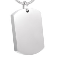 Wholesale Dog Charm Crystal - IJD8416 Free Engraving Blank Stainless Steel Dog Tag Cremation Pendant Necklace Memory Ashes Keepsake Urn Funeral Necklace