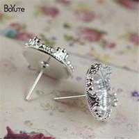 Wholesale Tray Earring Blanks - BoYuTe 40PcsTo Fit 15mm Diy Cabochon Base Setting Silver Stud Earring Blank Bezel Tray for Jewelry Making