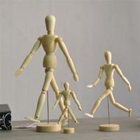 Wholesale Male Bjd - New Artist Movable Limbs Male Wooden Toy Figure Model Mannequin bjd Art Sketch Draw Action Figures Toy 14cm 20cm 30cm JC333