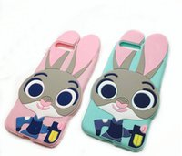 Wholesale Bunny Silicone Case - 3D Judy Rabbit Cute Cartoon Silicon cover for Iphone 4 4s 5 5S se 6 6s plus 7 7plus mobile phone case bunny