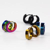 Wholesale Circle Ear Ring - Small Hoop Earrings Silver Gold 316L Stainless Steel Hoop Earring for Women Men Ear Rings Clip Colored Circle Earrings e0213