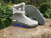 Wholesale flat led lights - 2017 Air mag Back to the Future McFly LED Mens Mag Sneakers glow in the dark Mens mcfly lighting Luxury Grey Boots MAGS