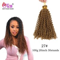 Wholesale New Popular Braided - New Popular Human Box Braids Water Wave Bulk Hair Extensions 20inch 100g pc Synthetic Curly Crochet Braids Hair For Female