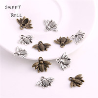 Wholesale Wholesale Jewelry Bells Charms Animals - SWEET BELL Min order 50pcs 16*21mm Zinc Alloy Two color Bee charms Lovely Bee Honey bee Charm Pendant Fit Diy Jewelry Making D6133