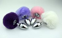 Wholesale Tail Butt Sexy Toys - Medium Stainless Steel Metal Anal Plug Sexy Rabbit Tail Bunny Pompon Fox Tail Butt Plug Unisex Sex Products Anal Sex Toys