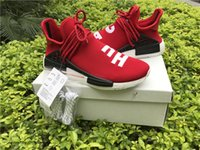 Wholesale Blue Racing Boots - Red Human Race With HU 2017 NMD Red Pharrell Williams Running Shoes With Box NMD Men Women Running Shoes Freeshipping Size 36-48
