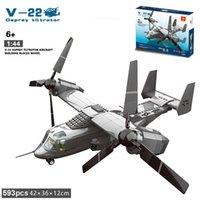 Wholesale Pilot Figures - 593PCS The V22 Osprey Tiltrotor Double Seats Classic Military Aircraft Model Helicopter Pilot Figures Block Educational Toys for children