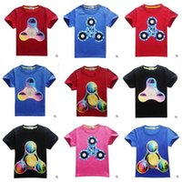 Wholesale Dhl Free Shipping Children Clothes - T shirts Boys Girls Fidget Triangle Spinner Clothing Children Cartoon Cotton Short Sleeve T-shirt Baby Kids Clothes DHL Free Shipping