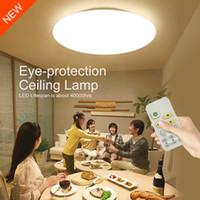 seviye kontrolleri toptan satış-Modern Akıllı Uzaktan Kumanda Göz koruyucu LED Tavan Lambası 10-level Karartma Yatak Odası Oturma Odası Yemek Odası Aydınlatma Armatürleri