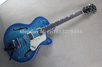 Wholesale Electric Guitar Blue Semi - Factory Custom blue Gret sch Falcon 6120 Semi Hollow Body Jazz Electric Guitar With bigb Tremolo Free Shipping