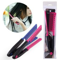Wholesale Hair Straightener V Comb - Professional Hair Combs V Type Hair Straightener Comb DIY Salon Haircut Hairdressing Styling Tool Barber Anti-static Combs Brush