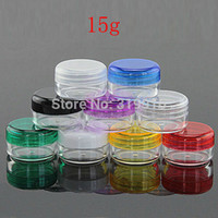 Wholesale Display Glass Bottle - 15g X 50 Colored Empty Plastic Cosmetic Containers With Lids ,Lip Balm Pot , Cream Sample Display Jar 15cc, makeup bottles Can