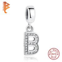Wholesale B Letter Pendant - BELAWANG Fit Pandora Original Bracelet&Necklace Authentic 925 Sterling Silver Jewelry Crystal B Letter Pendant 26 Alphabet Pendant Charms