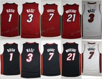 Wholesale Dwyane Wade Shirt - 2017 Red Black Basketball Jerseys 21 Hassan Whiteside 7 Goran Dragic 3 Dwyane Wade 1 Chris Bosh Shirts Stitched Basketball Jersey Cheap
