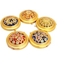 Wholesale Studded Glasses - Chic Retro Vintage Gold Metal Pocket Mirror Compact Cosmetic Retro Mirrors Crystal Studded Portable Makeup Beauty Tools