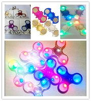 Wholesale Different Models - Chrome Metal Led Fidget Spinners with Switch Electroplate Bat Gold Plated Hand Spinner Turn OFF 3 Models Flashing Different Colors Toys
