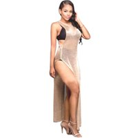 Wholesale Transparent Clubwear Dress - Women Exotic Split Long Dress Gold Gray Sleeveless Sheer Transparent Night Clubwear Sexy See Through Maxi Vestidos WT72890