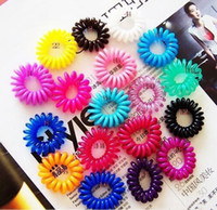 Wholesale Multi Colored Elastic Bands - 100pcs lot Telephone Wire Line Cord Invisi Hair Ring Gum Colored Elastic Hair Band For Girl Hair Scrunchy Children's