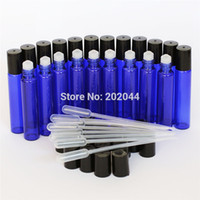 Wholesale Cobalt Blue Bottle Wholesale - Wholesale- Super 27+10Pcs Glass Cobalt Blue Roll On Bottles With Metal Roller Ball 10ML For Essential Oils Factory Price Free Shipping