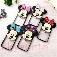 Wholesale Bling Bears - Diamond Bling Minnie Mouse Ear Bear Case 3D Cute Cartoon Clear Back Cover for iPhone 7 Plus 6 6s Plus 5 5s se