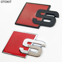 Wholesale Vw Front Emblem - S Logo Sline Emblem Badge Car Sticker Red Front Rear Boot Door Side Fit For Audi Quattro VW TT SQ5 S6 S7 A4 Accessories