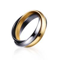 Wholesale Interlocking Hearts - Ladies Stainless Steel Interlocked Triple Braided Multi Color Band Bague Interlocked Ring for Woman Three in One