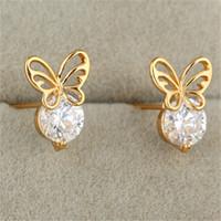Wholesale Kids Butterfly Earrings - Fashion Baby Jewelry Stud Earrings New 18K Yellow Gold Plated Cubic Zirconia CZ Mini Butterfly Earrings Lovery Earrings for Kids for Baby