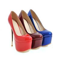 Wholesale Burgundy Patent Leather Platform Heels - Big Size Women's Shoe 16CM High Heels 5.5cm Platform Pumps Party Shoes For Women Wedding Shoes tenis feminino Y-18-85